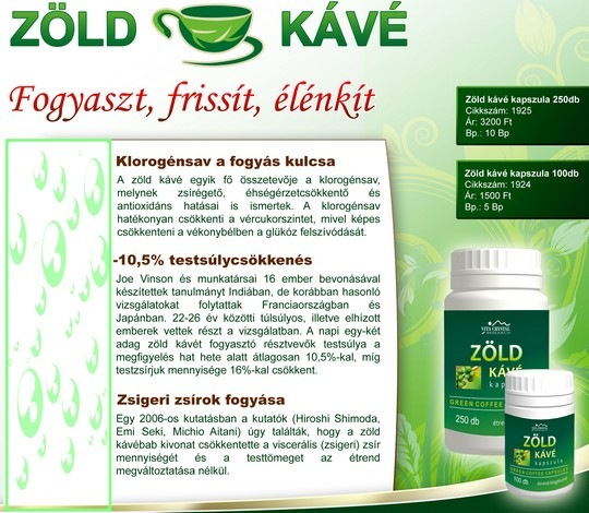 zöld kávé fogyaszt frissít, élénkít